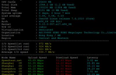 Megalayer美国大带宽服务器2*E5-2640V2方案基本性能评测