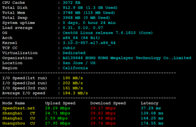 Megalayer美国服务器I3-4130方案基本性能测试