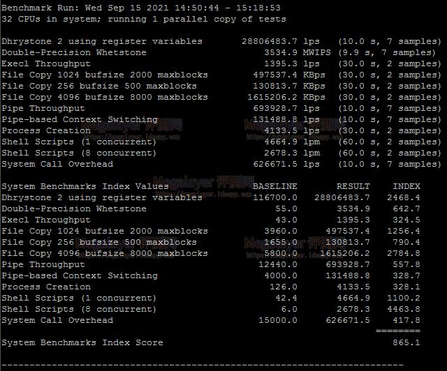 UnixBench跑分测试结果