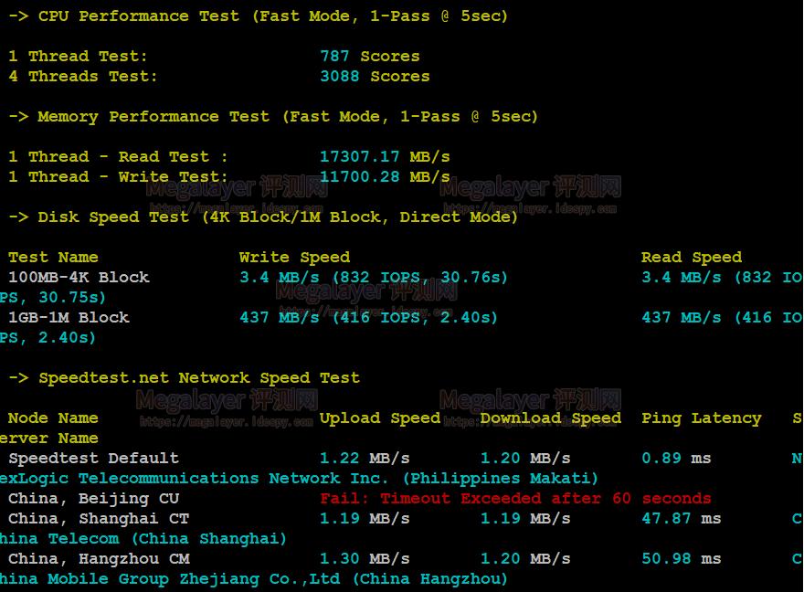 Megalayer菲律宾VPS主机CPU内存现成测试